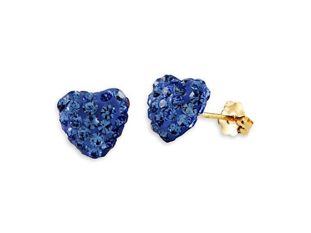New 14k Yellow Gold Round Blue CZ Heart Studs Earrings