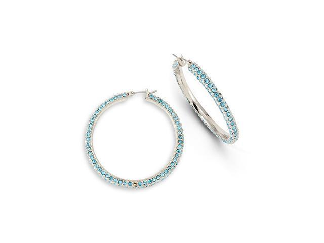 Polished Teal Stone Silver Tone Fashion Hoop Earrings