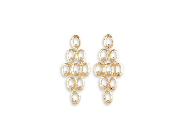 Round White CZ Oval Gold Tone Fashion Dangle Earrings