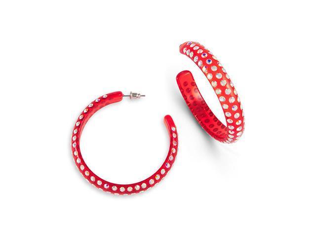 Red Clear Solid Rainbow Swarovski Crystal Hoop Earrings