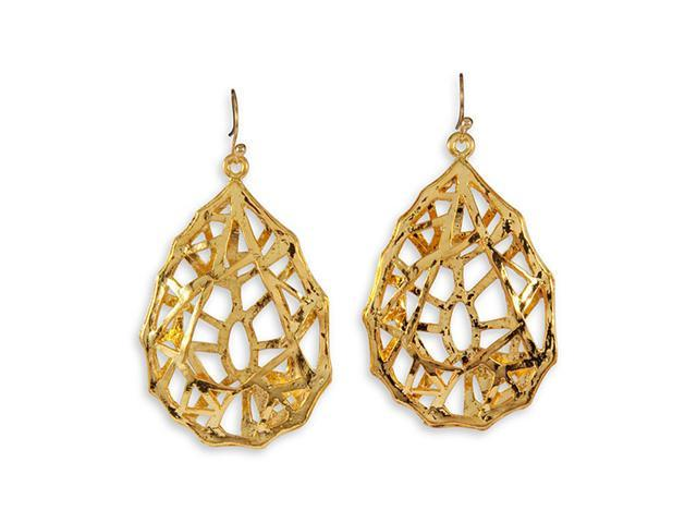 Gold Tone Open Abstract Modern Dangle Fashion Earrings