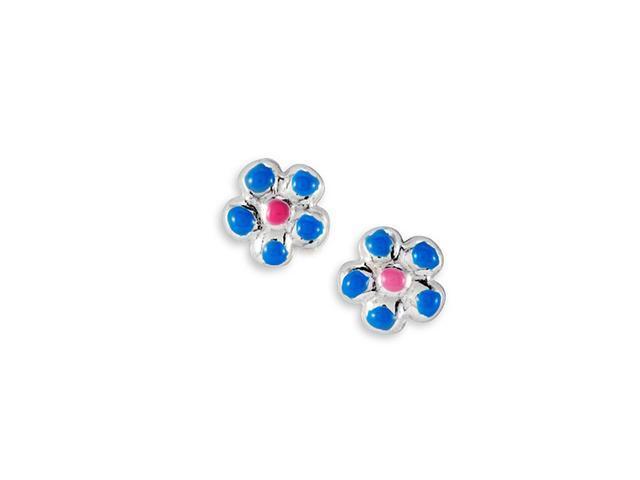 New Blue Pink .925 Sterling Silver Flower Stud Earrings