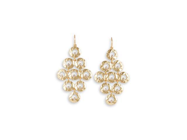 White CZ Round Open Fashion Gold Tone Dangle Earrings