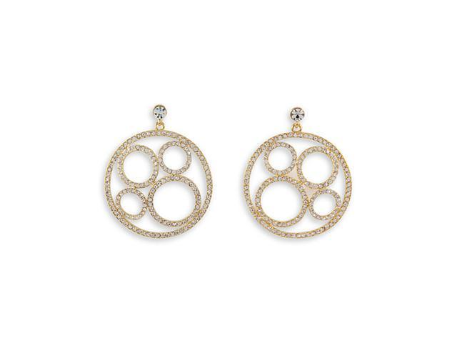 White Round CZ Gold Tone Circle Link Dangle Earrings
