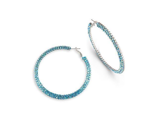 Solid Silver Tone Polished Teal Tone CZ Hoop Earrings