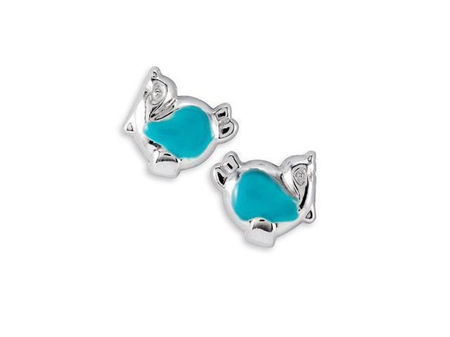 New Sterling Silver Green Enamel Penguin Stud Earrings