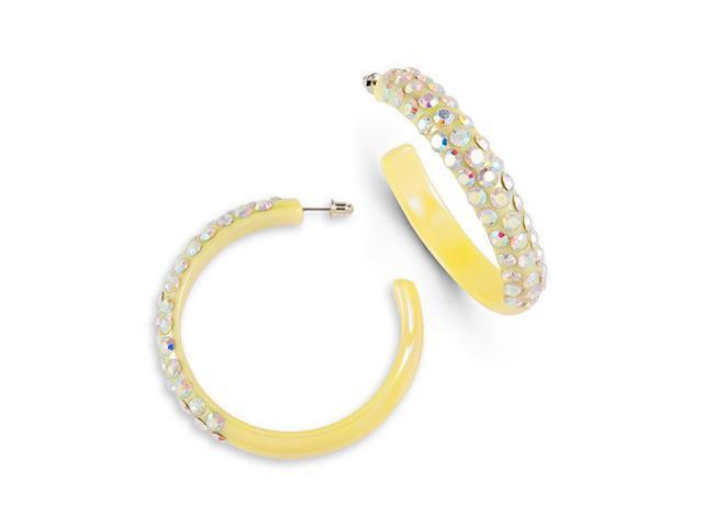 Rainbow Swarovski Crystal Yellow Stud Hoop Earrings