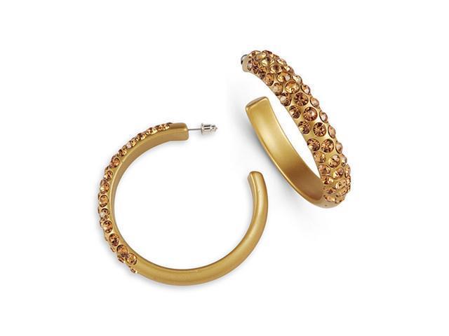 Smoky Topaz Swarovski Crystal Hoop Gold Tone Earrings