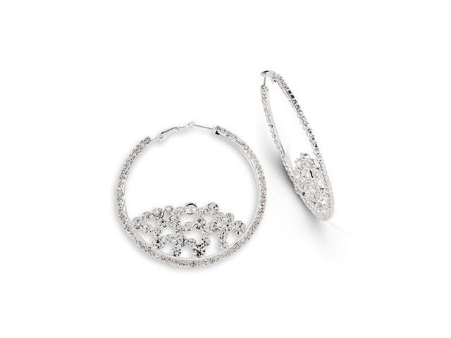 Round White CZ Silver Tone Modern Fashion Hoop Earrings