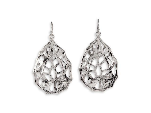 Silver Tone Open Teardrop Dangle Chandelier Earrings