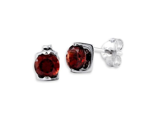 Polished 14k White Gold Round Red Garnet Stud Earrings