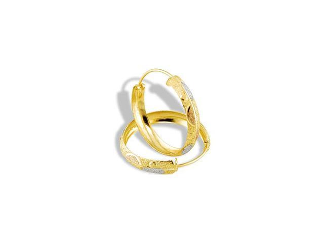 14k Yellow Gold Rose White Tone Etched Hoop Earrings
