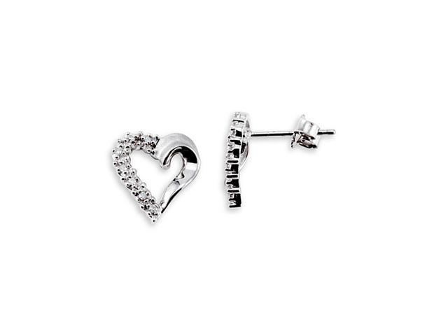 10k White Gold Heart 0.12 Ct Round Diamond Earrings