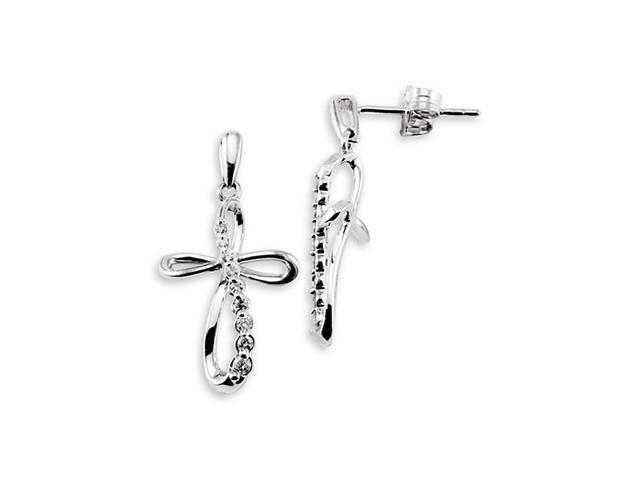 10k White Gold 0.22 Ct Round Diamond Cross Earrings