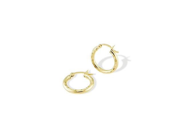 14k Solid Yellow Gold Round Diamond Cut Hoop Earrings