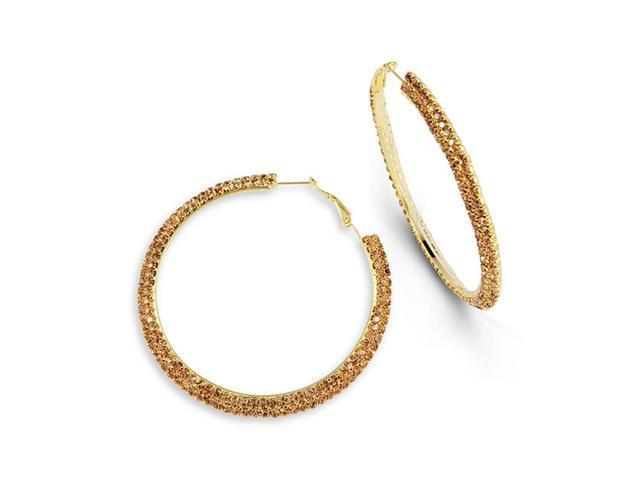Smoky Topaz CZ Big Round Gold Tone Omega Hoop Earrings