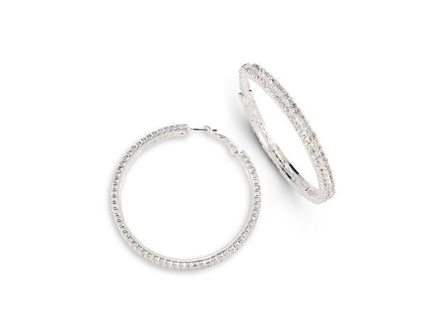 Solid Round White CZ Polished Silver Tone Hoop Earrings