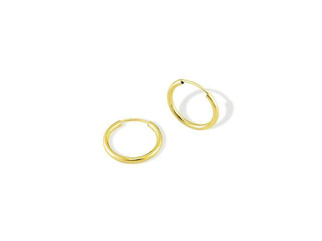 Solid 14k Yellow Gold Pull Back Round Hoop Earrings