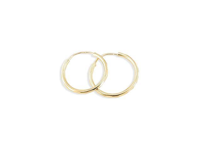 New Solid 14k Yellow Gold Polished Round Hoop Earrings