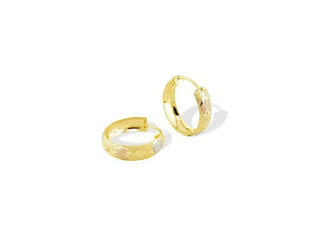 14k Yellow Gold Rose White Tone Floral Hoop Earrings