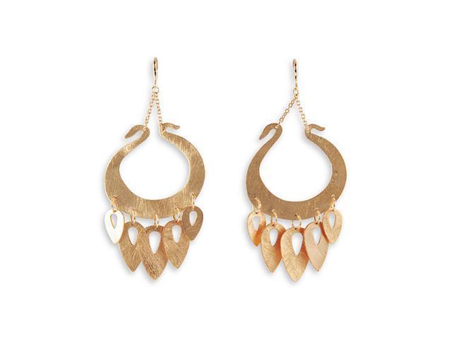 Gold Tone Chain Dangle Charm Modern Fashion Earrings