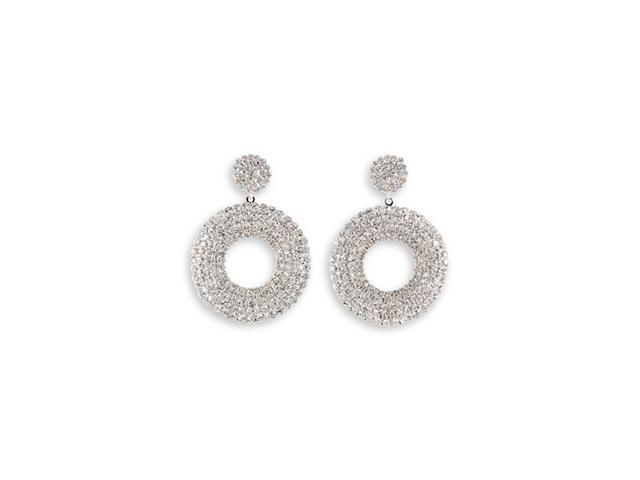 Round White CZ Polished Silver Tone Dangle Stud Earring
