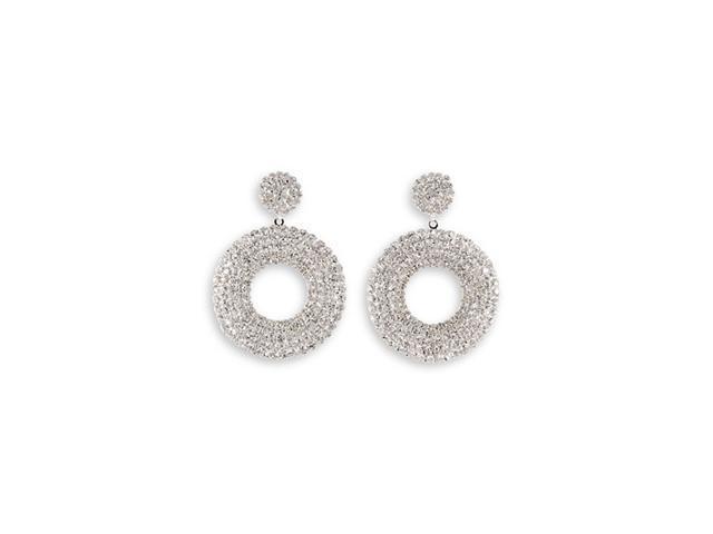 Round White CZ Polished Silver Tone Dangle Stud Earring