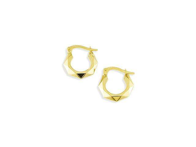 14k Yellow Gold Small Octagon Hinged Post Earrings