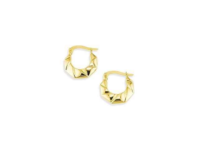 14k Yellow Gold Swirl Octagon Hinged Post Earrings