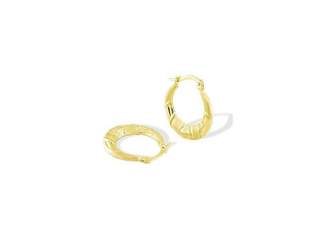 14k Yellow Gold Polished Satin Round Hoop Earrings