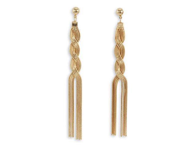 Polished Gold Tone Twist Chandelier Dangle Earrings
