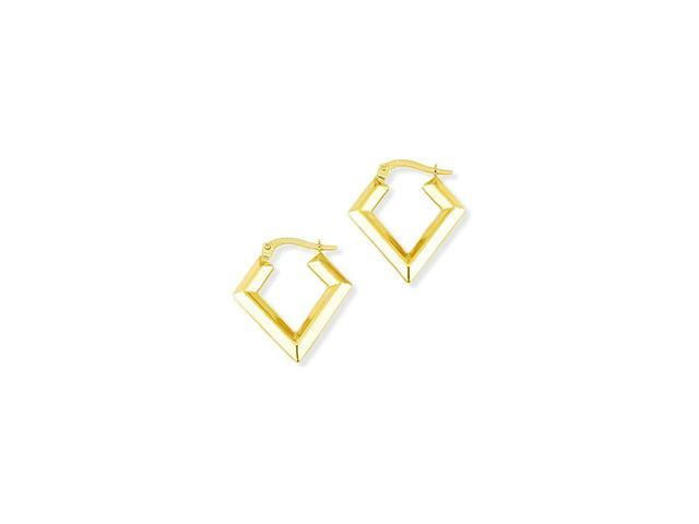 Solid 14k Yellow Gold Polished Diamond Shape Earrings