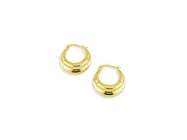 Solid 14k Yellow Gold Round Small Puffy Hoop Earrings