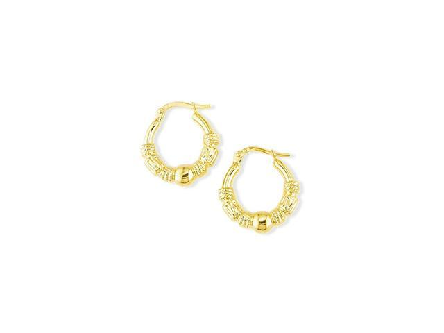 14k Yellow Gold Polished Round Fashion Hoop Earrings