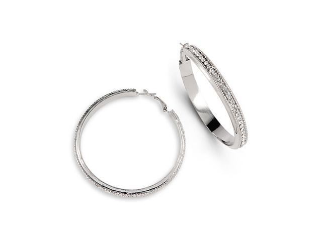 Silver Tone White CZ Extra Large Fashion Hoop Earrings