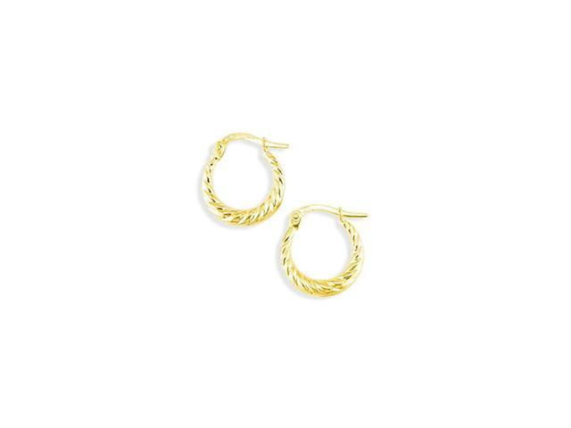14k Yellow Gold Small Swirl Spiral Round Hoop Earrings