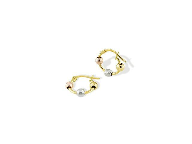14k Yellow White Rose Gold Small Beaded Hoop Earrings
