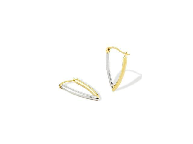 Solid 14k Yellow White Gold V Shape Hinged Earrings