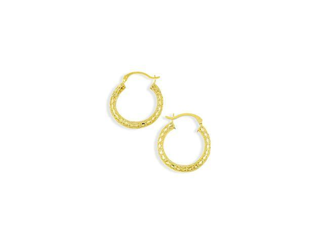 Solid 14k Yellow Gold Lace Heart Hoop Hinged Earrings