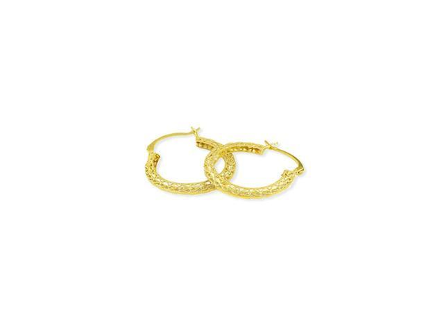14k Yellow Gold Hearts Round Detailed Hoop Earrings