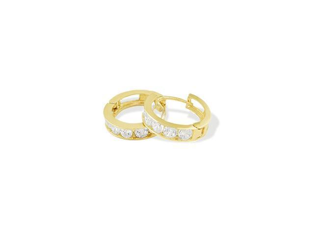 Solid 14K Yellow Gold Round CZ Huggie Hoop Earrings