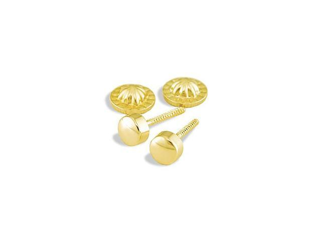 14k Yellow Gold Solid Polished Round Stud Earrings