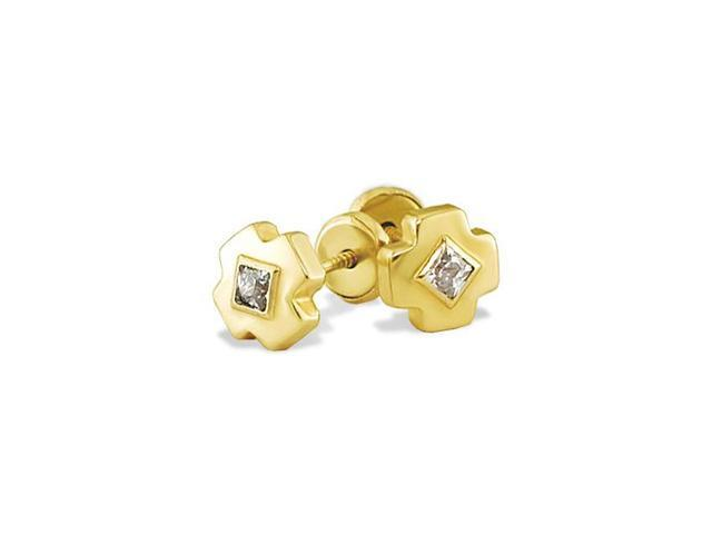 14k Yellow Gold Solitaire CZ Cross X Stud Earrings