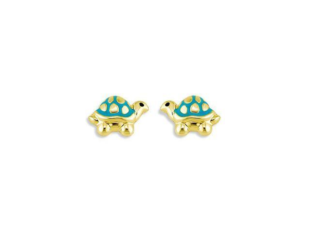 14k Yellow Gold Turtle Blue Green Enamel Stud Earrings