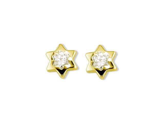 Solid 14k Yellow Gold Polished CZ Star Stud Earrings