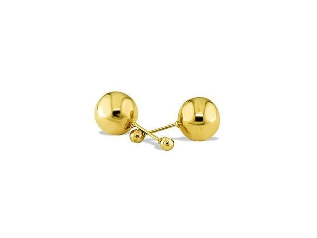 Solid 14k Yellow Gold Round Bead Ball Stud Earrings