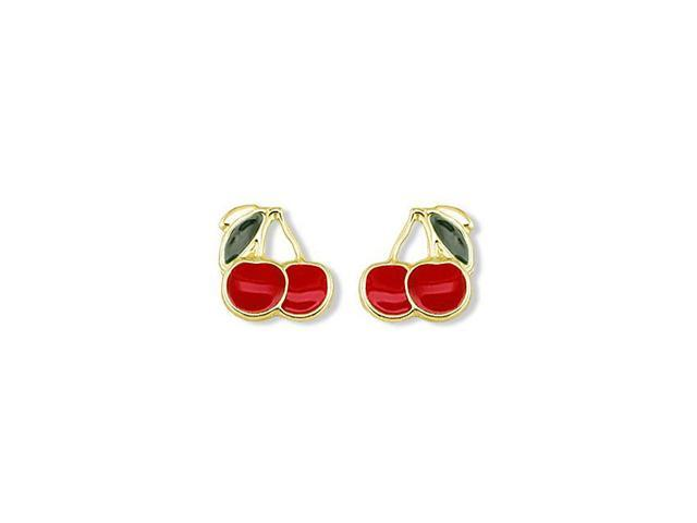 14k Yellow Gold Red Cherry Green Leaf Stud Earrings