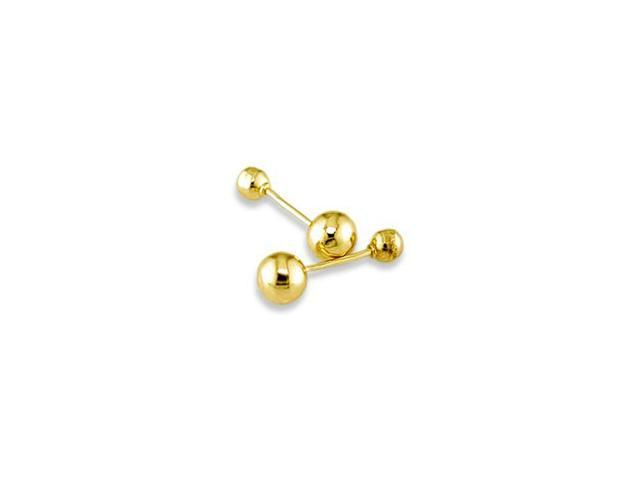 Polished 14k Solid Yellow Gold Ball Round Stud Earrings
