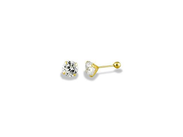 14k Yellow Gold Round 2 Ct CZ Solitaire Stud Earrings