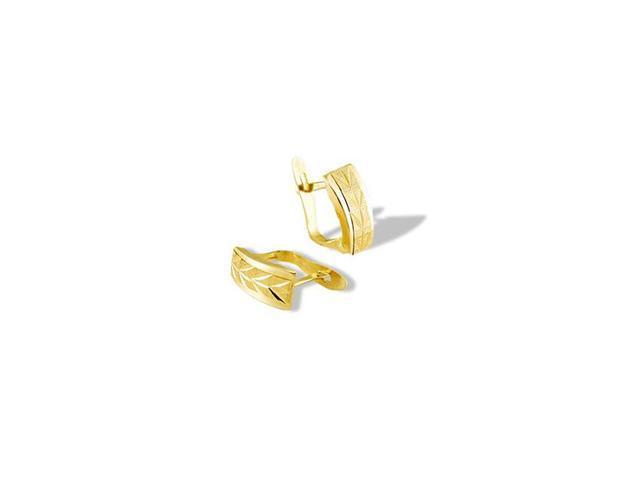 14k Yellow Gold Diamond Cut Wheat Leaf Huggie Earrings